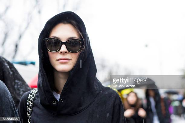 Model Vittoria Ceretti is seen in the streets of Paris after the Sacai show during Paris Fashion Week Womenswear Fall/Winter 2017/2018 on March 6...