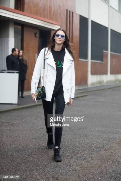 Model Vittoria Ceretti outside the Diesel Black Gold show during Milan Fashion Week Fall/Winter 2017/18 on February 24 2017 in Milan Italy