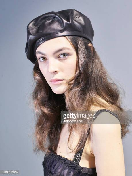 Model Vittoria Ceretti prepares backstage before the Christian Dior show as part of the Paris Fashion Week Womenswear Fall/Winter 2017/2018 on March...