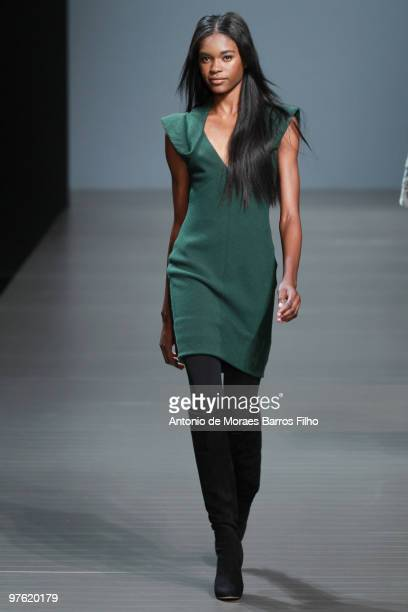 A model waks the runway at the Valentin Yudashkin Ready to Wear show during Paris Womenswear Fashion Week Fall/Winter 2011 at Le Carrousel du Louvre...