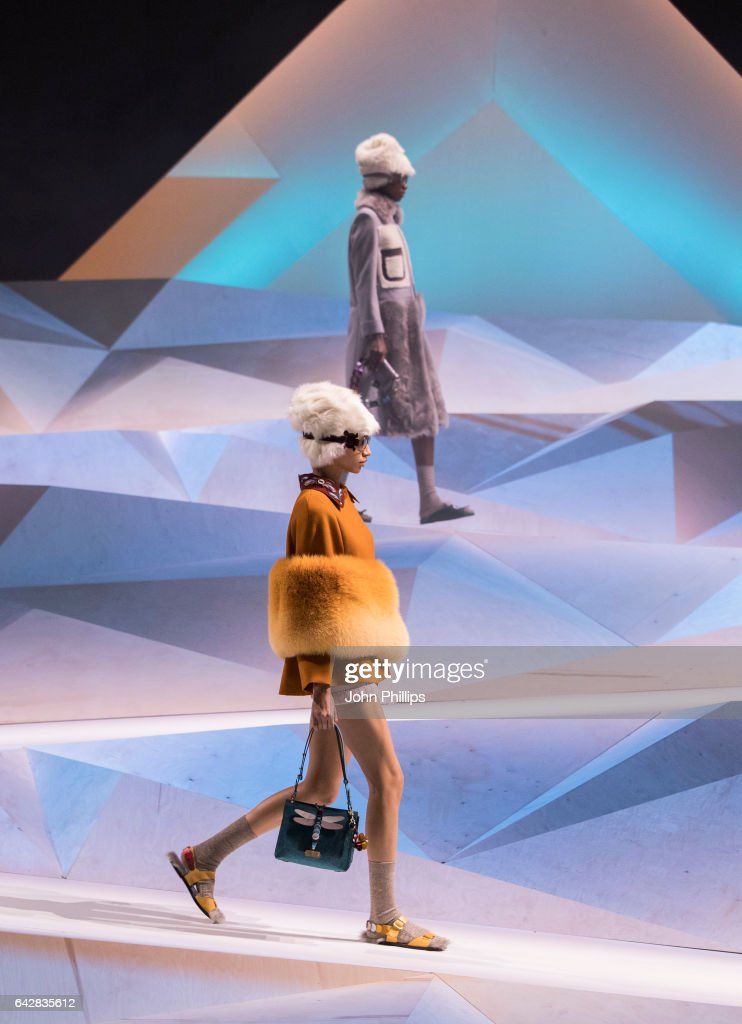 Model walk on the runway at the Anya Hindmarch show during the London Fashion Week February 2017 collections on February 19, 2017 in London, England.