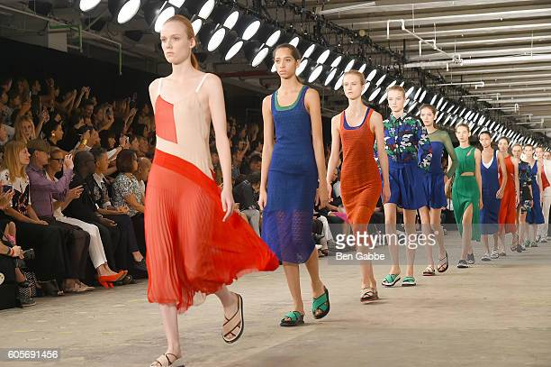 Model walk the runwat at the Boss Womenswear fashion show during New York Fashion Week September 2016 at The Gallery Skylight at Clarkson Sq on...