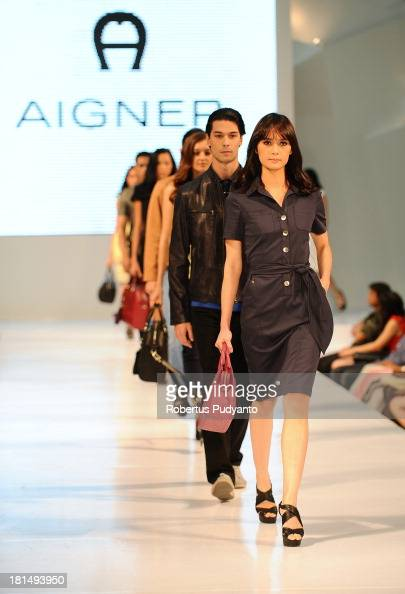 Model walk the runway at Aigner Autumn Winter Leather 2013 Collection show during Ciputra World Fashion Week on September 21 2013 in Surabaya...