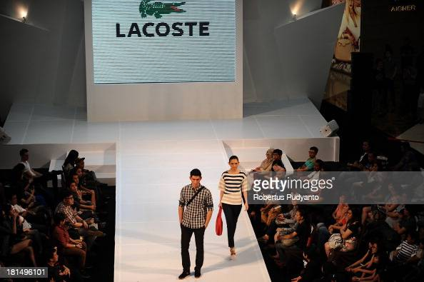 Model walk the runway at Lacoste show during Ciputra World Fashion Week on September 21 2013 in Surabaya Indonesia