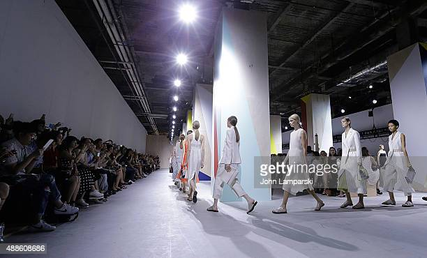 Model walk the runway at the Boss Womenswear show during Spring 2016 New York Fashion Week The Shows on September 16 2015 in New York City