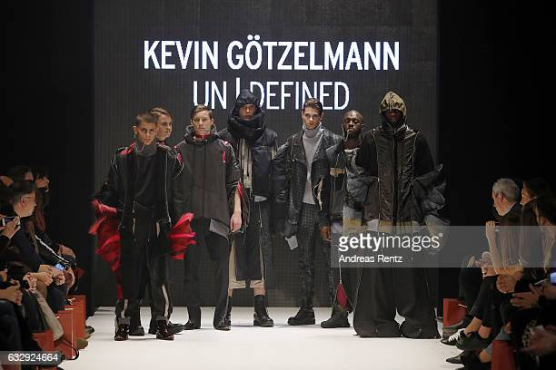 Model walk the runway at the Kevin Goetzelmann AMDFashionshow Exit17 show during Platform Fashion January 2017 at Areal Boehler on January 28 2017 in...
