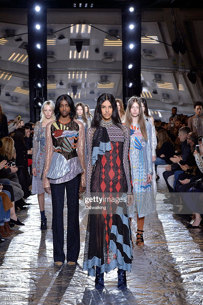 Model walk the runway at the Peter Pilotto Autumn Winter 2016 fashion show during London Fashion Week on February 22 2016 in London United Kingdom