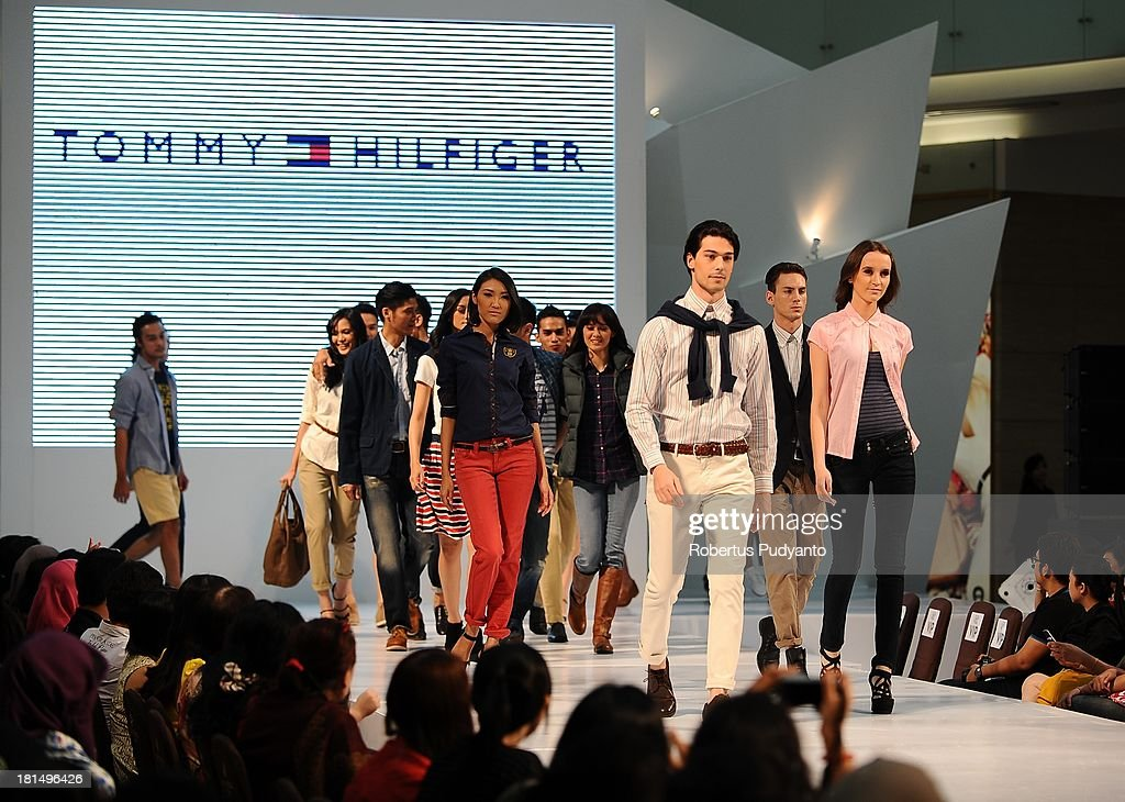 Model walk the runway at Tommy Hilfiger show during Ciputra World Fashion Week on September 21, 2013 in Surabaya, Indonesia.