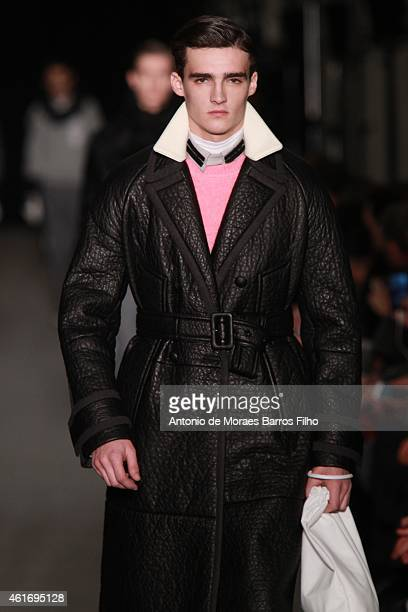 A model walk the runway during the Andrea Pompilio show as a part of Milan Menswear Fashion Week Fall Winter 2015/2016 on January 17 2015 in Milan...
