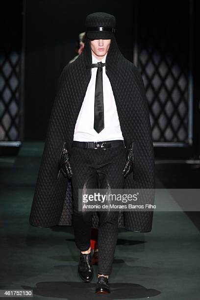 A model walk the runway during the DAKS show as a part of Milan Menswear Fashion Week Fall Winter 2015/2016 on January 18 2015 in Milan Italy