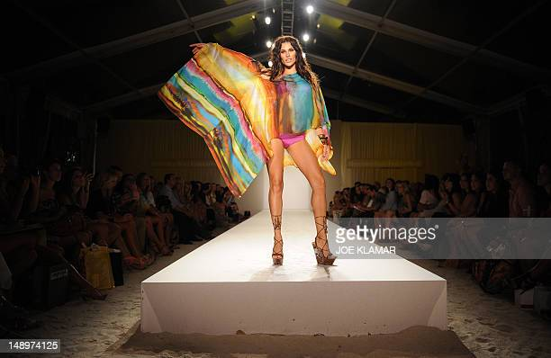 A model walks a runway during the reahersal of Vitamin A by Amahlia Stevens during MercedesBenz Fashion Week Swim 2012 at The Raleigh on July 20 2012...