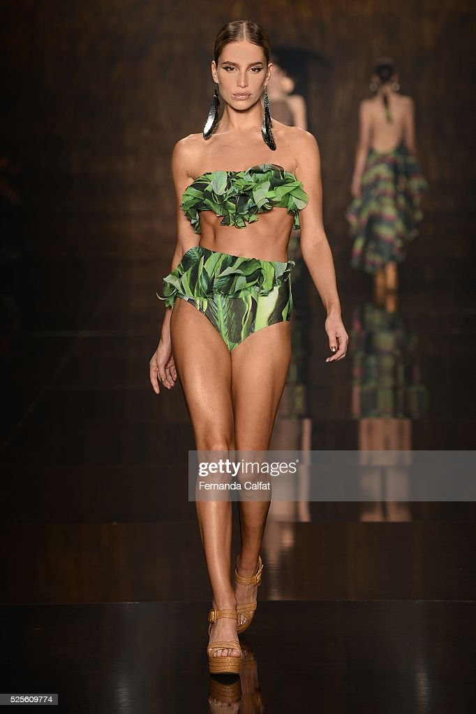 A model walks at Agua de Coco por Liana Thomaz Runway at SPFW Summer 2017 at Ibirapuera's Bienal Pavilion on April 28, 2016 in Sao Paulo, Brazil.