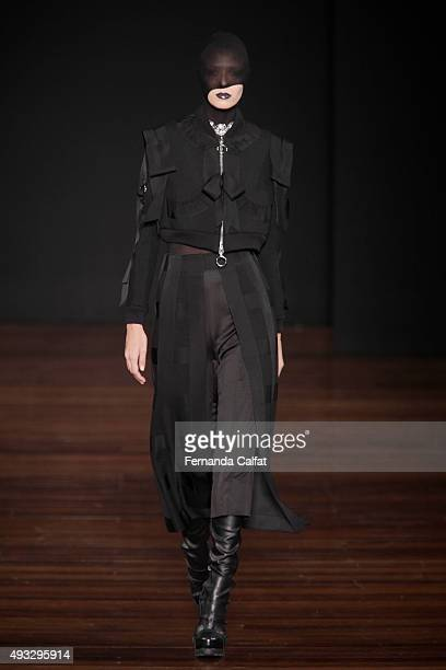 A model walks at Alexandre Herchcovitch Runway at SPFW Winter 2016 on October 18 2015 in Sao Paulo Brazil