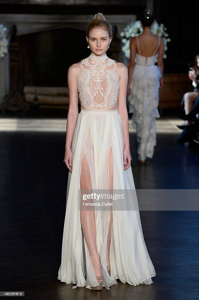 A model walks at Alon Livne White Bridal Fall/Winter 2016 Runway Show at The High Line Hotel on October 11 2015 in New York City