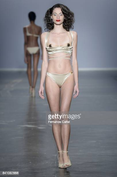 A model walks at Amir Slama Runway at SPFW N44 Winter 2018 at Ibirapuera's Bienal Pavilion on August 30 2017 in Sao Paulo Brazil