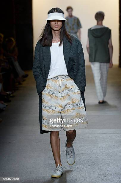 A model walks at Billy Reid Runway at New York Fashion Week Men's S/S 2016 at Art Beam on July 15 2015 in New York City