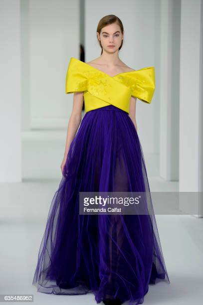 A model walks at Delpozo Runway at New York Fashion Week at Pier 59 Studios on February 15 2017 in New York City