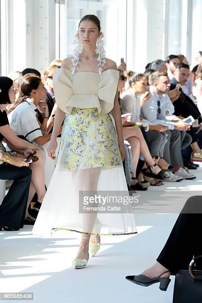A model walks at Delpozo Runway September 2016 at New York Fashion Week at Pier 59 Studios on September 14 2016 in New York City