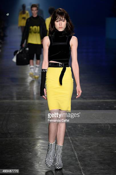 A model walks at Ellus Runway at SPFW Winter 2016 on October 20 2015 in Sao Paulo Brazil