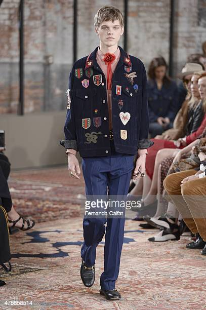 A model walks at Gucci Cruise 2016 Runway at Dia Art Foundation on June 4 2015 in New York City