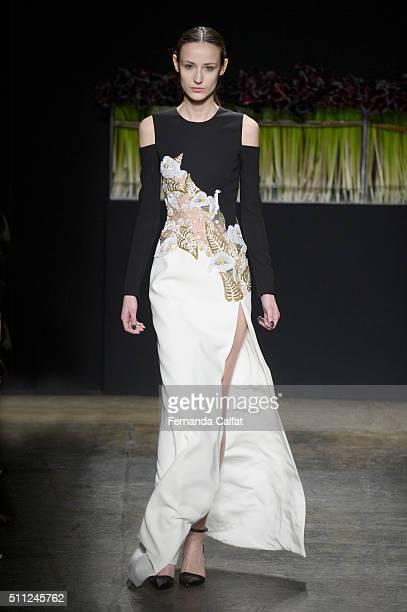 A model walks at J Mendel Runway Fall 2016 at New York Fashion Week at Cedar Lake on February 18 2016 in New York City