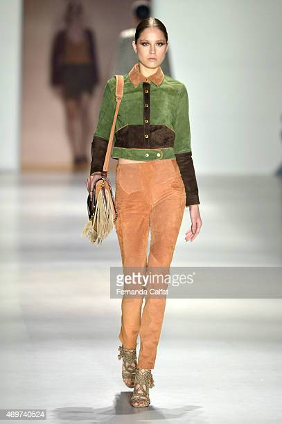 A model walks at Lilly Sarti runway during SPFW Summer 2016 at Parque Candido Portinari on April 14 2015 in Sao Paulo Brazil