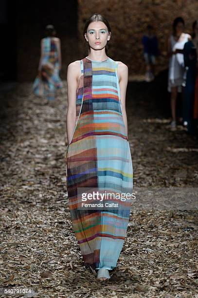 A model walks at Mara Mac Runway Rio Moda Rio Summer 2017 at Pier Maua on June 16 2016 in Rio de Janeiro Brazil