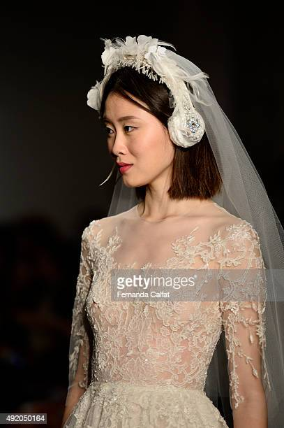 A model walks at Reem Acra Bridal Fall/Winter 2016 Runway Show at Reem Acra on October 9 2015 in New York City