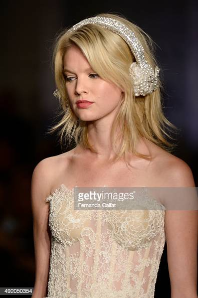 A model walks at Reem Acra Bridal Fall/Winter 2016 Runway Show at Reem Acra on October 9 2015 in New York City