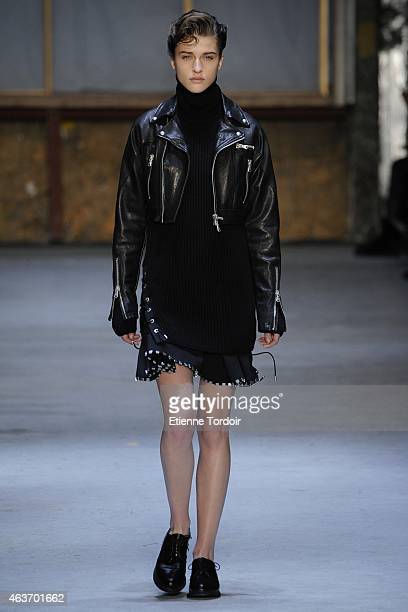 A model walks at the Diesel Black Gold Runway Show during MercedesBenz Fashion Week Fall 2015 at 23 Wall Street on February 17 2015 in the Brooklyn...
