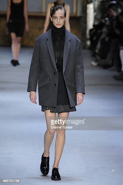 A model walks at the Diesel Black Gold Runway Show during MercedesBenz Fashion Week Fall 2015 at 23 Wall Street on February 17 2015 in the Brooklyn...