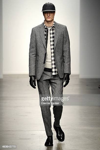 A model walks at the Ovadia Sons Fashion Show during MercedesBenz Fashion Week Fall 2015 at Pier 59 on February 16 2015 in the Brooklyn borough of...