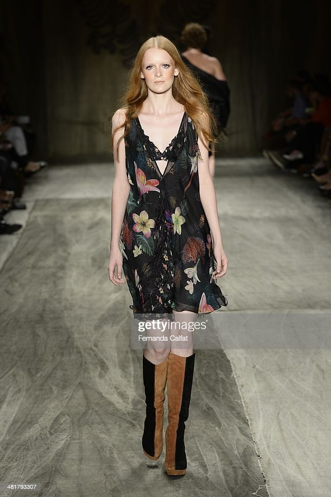 A model walks at the runway during Cavalera show at Sao Paulo Fashion Week Summer 2014/2015 at Parque Candido Portinari on March 31 2014 in Sao Paulo...