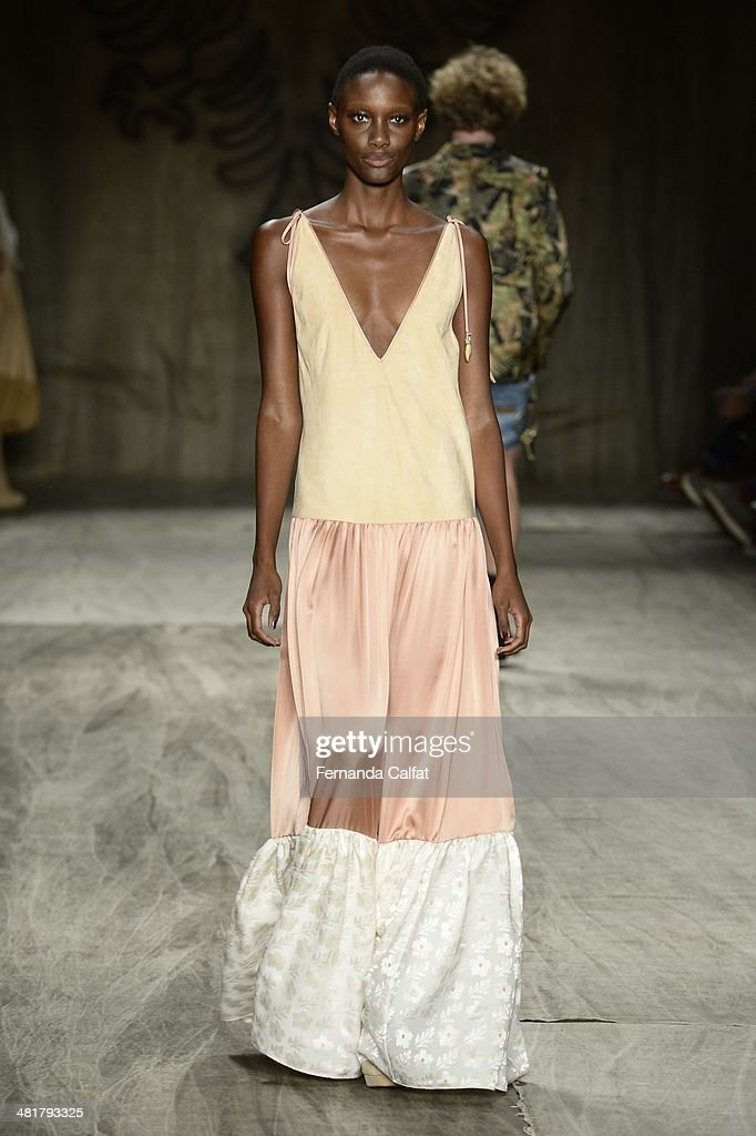 A model walks at the runway during Cavalera show at Sao Paulo Fashion Week Summer 2014/2015 at Parque Candido Portinari on March 31, 2014 in Sao Paulo, Brazil.