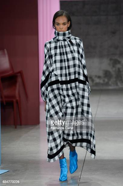 A model walks at Tibi Runway at New York Fashion Week on February 11 2017 in New York City
