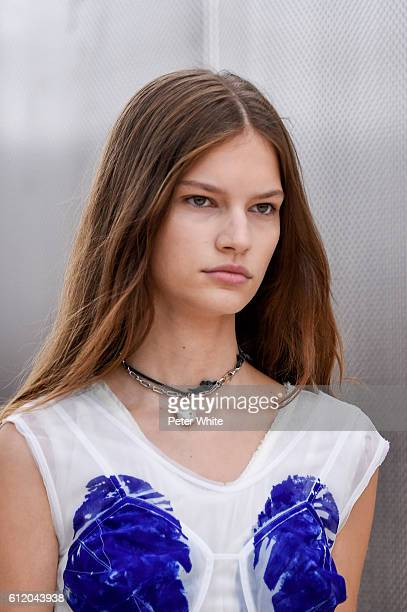 A model walks beauty runway detail the runway during the Celine show as part of the Paris Fashion Week Womenswear Spring/Summer 2017 on October 2...