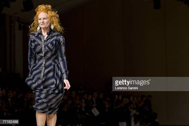 A model walks down the catwalk at the Vivienne Westwood fashion show during the Spring/Summer 2008 Paris Fashion Week on October 1 2007 in Paris...