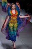 Model walks down the catwalk during the Alexander McQueen ready to wear Spring Summer 2008 show at Paris Fashion Week 2007 on October 5 2007 in Paris...
