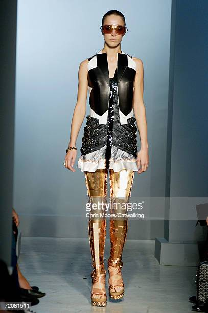 A model walks down the catwalk during the Balenciaga Fashion Show as part of Paris Fashion Week Spring/Summer 2007 on October 3 2006 in Paris France