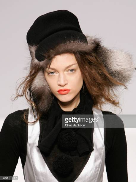 A model walks down the catwalk during the Berube Autumn/Winter 2007 fashion show at London fashion week at the Royal Academy on February 13 2007 in...