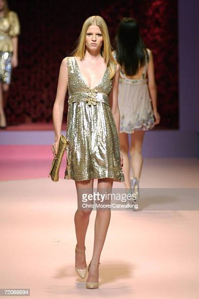 A model walks down the catwalk during the Blumarine Fashion Show as part of Milan Fashion Week Spring/Summer 2007 on September 29 2006 in Milan Italy