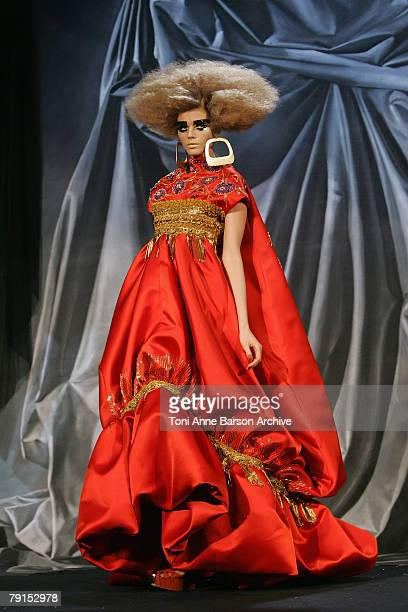 Model walks down the catwalk during the Christian Dior fashion show as part of the Paris Fashion Week Haute Couture SpringSummer 2008 at Polo de...
