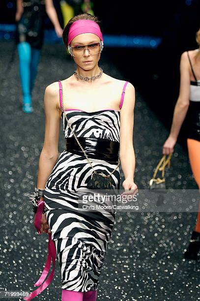 A model walks down the catwalk during the DG Fashion Show at Milano Moda Donna as part of Milan Fashion Week Spring/Summer 2007 on September 25 2006...
