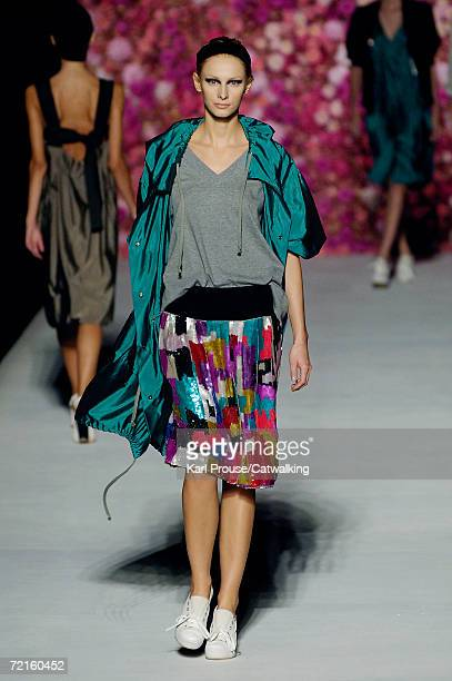 A model walks down the catwalk during the Dries Van Noten Fashion Show as part of Paris Fashion Week Spring/Summer 2007 on October 4 2006 in Paris...