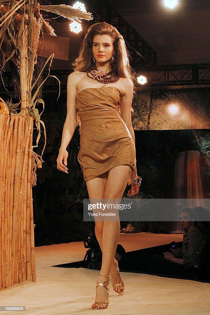 A model walks down the catwalk during the Dsquared2 fashion show at Hotel International Tashkent on October 23, 2013 in Tashkent, Uzbekistan.
