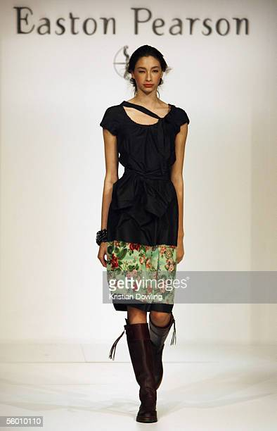 A model walks down the catwalk during the Easton Pearson Runway on day one of the Mercedes Australian Fashion Week at Federation Square on October 26...