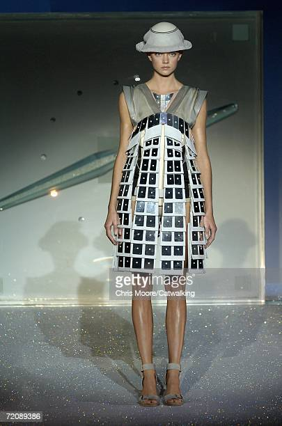 A model walks down the catwalk during the Hussein Chalayan Fashion Show as part of Paris Fashion Week Spring/Summer 2007 on October 4 2006 in Paris...