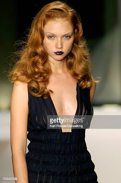 A model walks down the catwalk during the Krizia Fashion Show as part of Milan Fashion Week Spring/Summer 2007 on September 28 2006 in Milan Italy