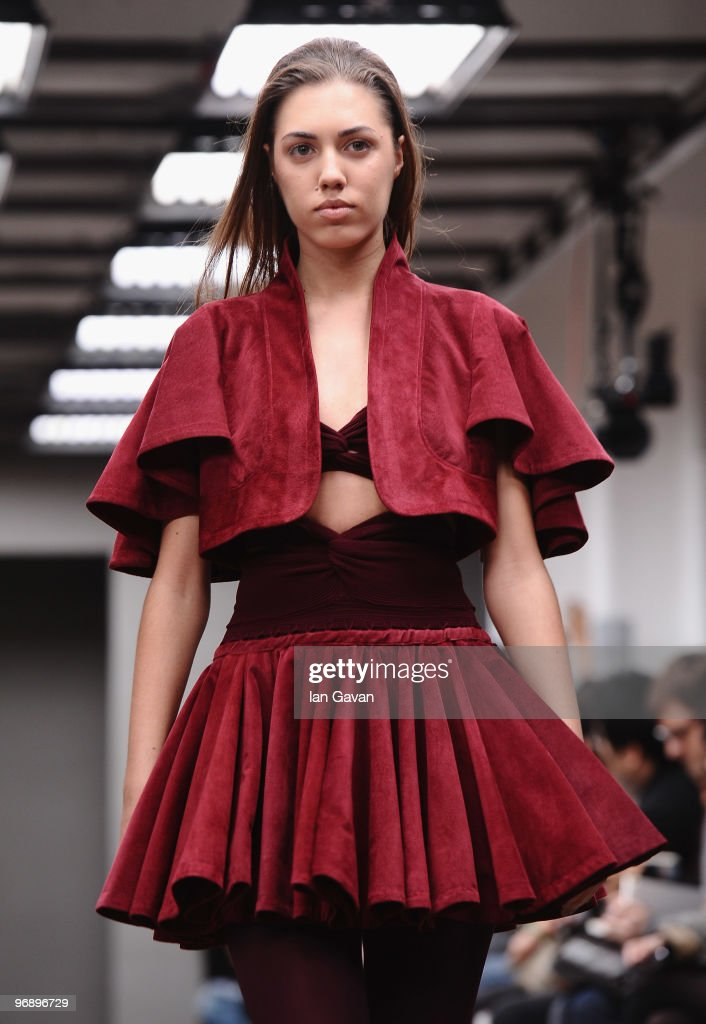A model walks down the catwalk during the Mark Fast Fashion Show at the Top Shop Venue as part of London Fashion Week on February 20 2010 in London...