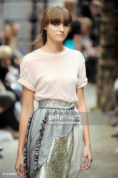 A model walks down the catwalk during the Michael Van Der Ham fashion show as part of London Fashion Week Spring/Summer 2010 on September 22 2009 in...